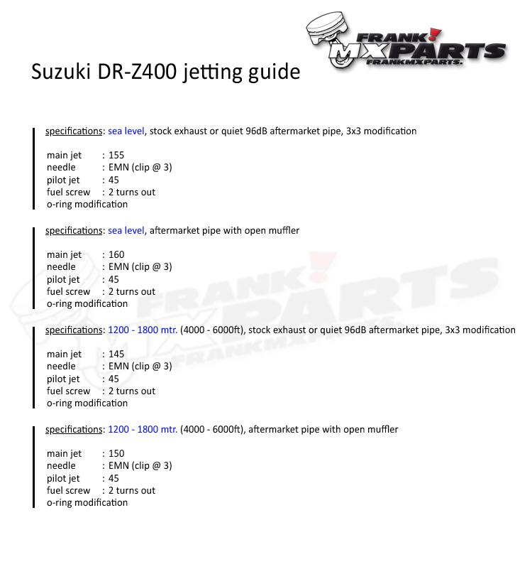 Details about Suzuki DR-Z400 jetting kit Keihin FCR MX carburetor /  flatslide 39 DRZ 400 jets